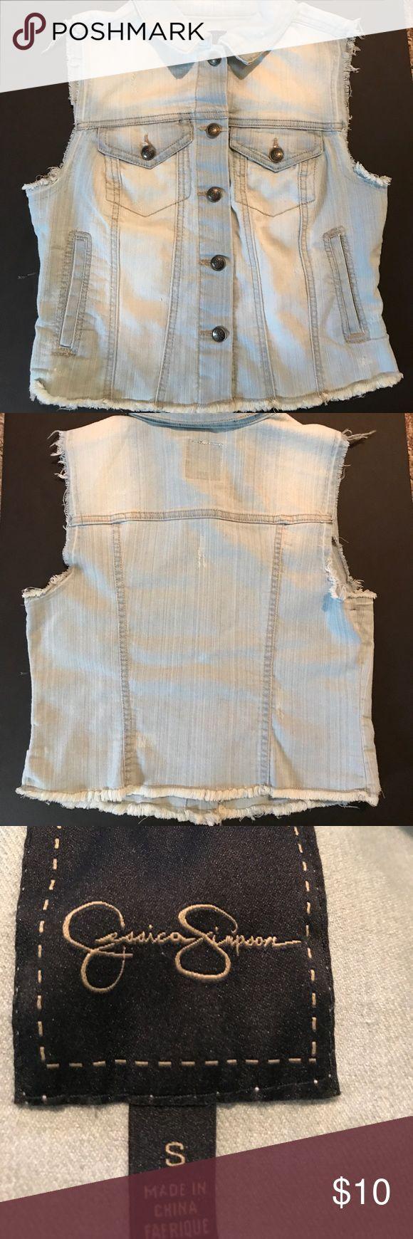 Jessica Simpson denim vest Size S euc💕 Jessica Simpson Jackets & Coats Vests