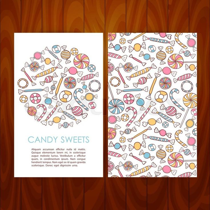 Stock vector of 'Business Set Template with Hand Drawn Candy Sweets. Vector Illustration of Brand Identity for Dessert Restaurant and Cafe Promotion over Wooden Texture'