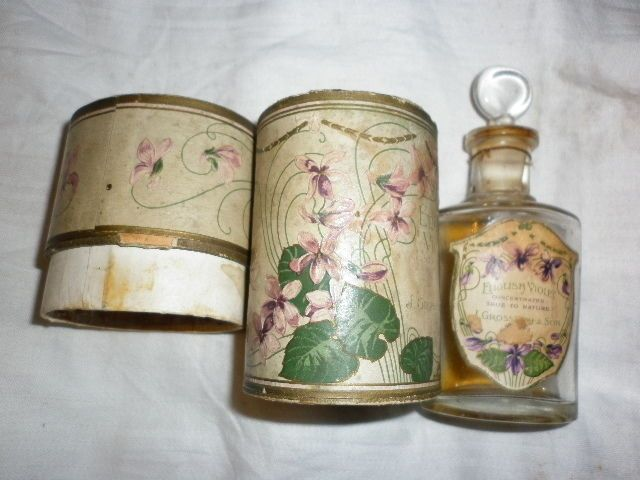 J Grossmith and Son London, English Violet Vintage Perfume Bottle and Box