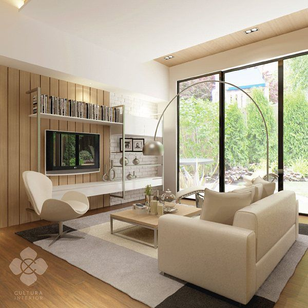 A minimalist-modern living room design with earthy choice of colors and wooden panel flooring. Simple living room with warm and homy atmosphere for the whole family.  Designed by @culturainterior  #interior #interiordesign #livingroom #livingroominterior #interiorinspiration #interiorindonesia #interiorsemarang #culturainterior