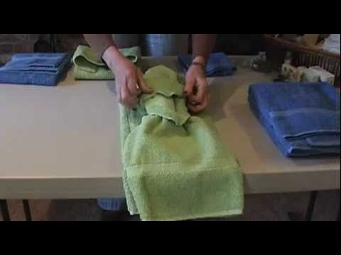 As a surprise little 'extra' for clients, I will ask them to leave out two fresh sets of towels (bath towel, hand towel and washcloth) and then I will tie the towels in one of these three ways. I carry a box of small silk flowers, small wrapped bath soaps, colorful packets of bath salts and small (hotel size) bottles of shampoo or lotion to 'acc...