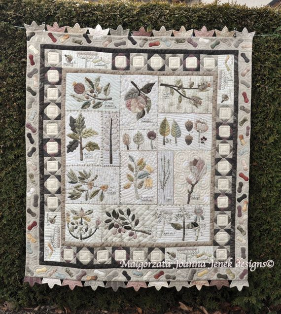 This beautiful, wall hanging quilt was created by me as my personal thankful for the Nature. Old botanical graphics inspired me to write this