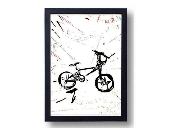 BMX Bicycle Print Black Bike Graffiti Sketch by BeepArtsAndCrafts