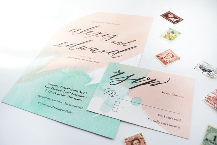 Pastel Pink Watercolour Invitation, Whimsical Wedding Invite, Fairytale Wedding, Bespoke Modern Calligraphy, Mint green - The Freo Suite