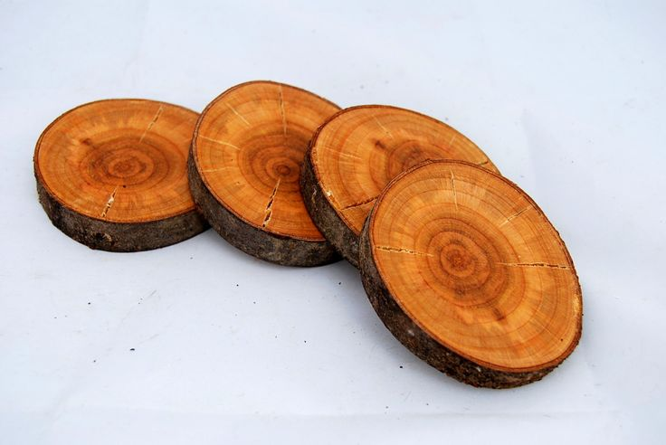 Coasters,in cherry wood,set of 4, wood disc coasters,handcrafted coasters,wood coasters,rustic coasters,cherry wood disc, by Scandicreations on Etsy