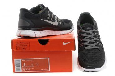Nike Free 5.0+ Womens Black Gray Running Shoes