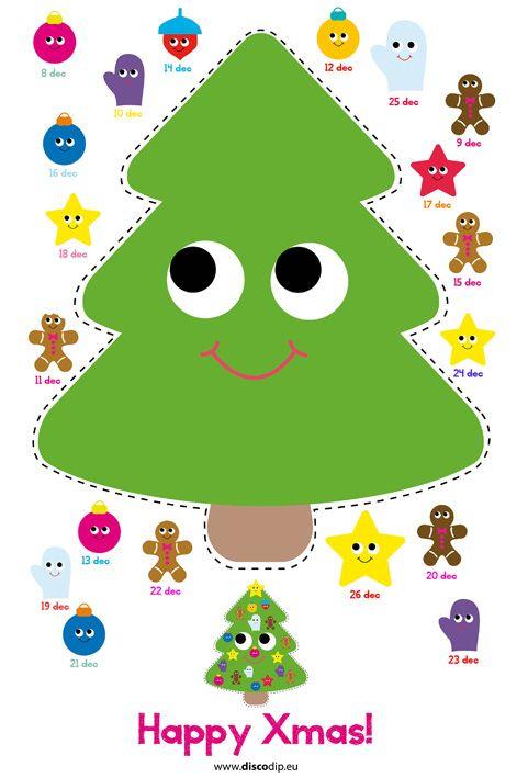 Na de sinterklaasaftelkalendertoch ook nog maar een adventkalender voor deallergezelligste periode vanhet jaar. Er staat hier noggeen boom, maar de oldskooldisney kerstfilms wordenal gekeken en het huiswordt langzaam aan kerst klaar gemaakt.Download en printde kalender, knip de kerstboomuit en daarna mag er iederedag een kerstboomversieringworden geknipt en geplakt.Veel plezier!