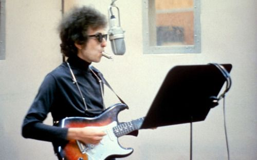 "Bob Dylan, 1965, with the siren whistle he played on the title track for ""Highway 61 Revisited"""