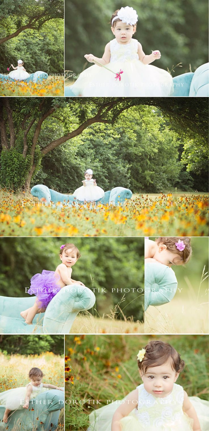 one year old photography, baby photography, outdoor baby photography, couch in flower field, infant photography, baby photos
