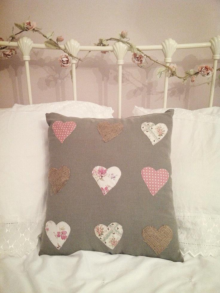 Homemade Cushion Hearts Floral Shabby Chic Jessica