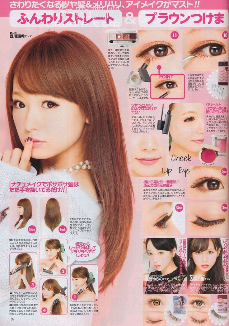 """Love Switch Pink Brown Eyelashes in 01 """"Coquettish"""" (false top lashes). Decorative Eyelash in Play Cute (cut in half & apply to the outer 1/2 of your lower lash line).  THREE Shimmering Color Veil (highlight below your eye).  Cheeks: Elegance Cream Face Color in PK102, Jill Stuart Mix Blush Compact in 102 """"Marina Bloom"""". Lips:  Chanel Rouge Allure Extrait de Gloss in 57 """"Insolence""""."""