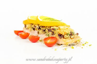Baked salmon and crispy crumble with couscous, dried fruit and almonds