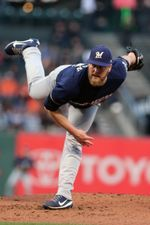 Aug 22, 2017; San Francisco, CA, USA; Milwaukee Brewers starting pitcher jimmy Nelson (52) throws to the San Francisco Giants in the first inning of their MLB baseball game at AT&T Park. Mandatory Credit: Lance Iversen-USA TODAY Sports