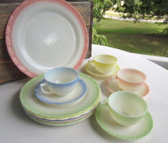 Vintage Macbeth Evans Glass Dinnerware Plates Cups Saucers