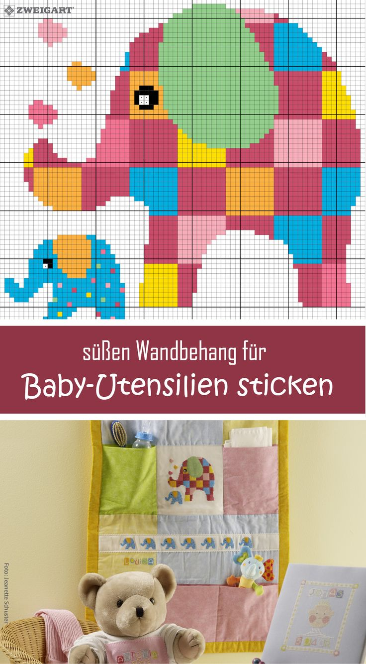 Süßen Wandbehang mit Elefanten für Babies sticken  #Sticken #Kreuzstich / #Baby / #Elefant; #Embroidery #Crossstitch / #baby /  #elephant / #ZWEIGART