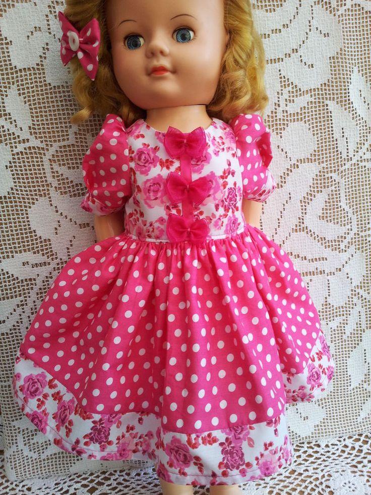 """SalStuff, Polka Dot & Roses Dress, 22"""" Vintage Doll Pedigree Walker 50's / 60's"""