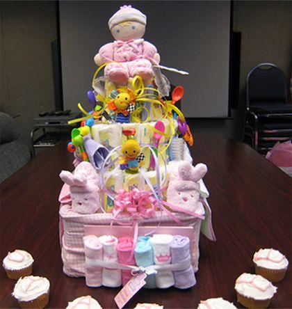 Baby Shower Gift Ideas   Pink Diaper Cake For Baby Girls Gift