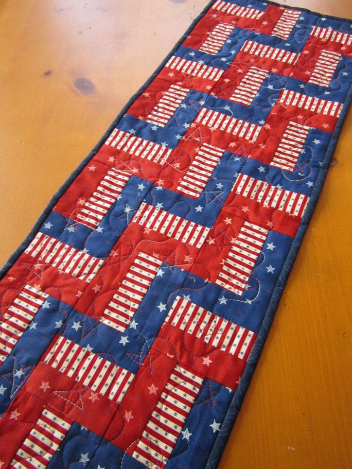 Handmade Quilted Table Runner Stars And Stripes 25 00