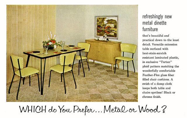 Mid-century dining room. I love the hairpin legs on the table.