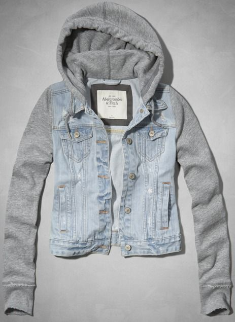 Denim Jacket Hoodie- my kinda style!   Check out for more stuff at  http://pinterest.com/milaishop/