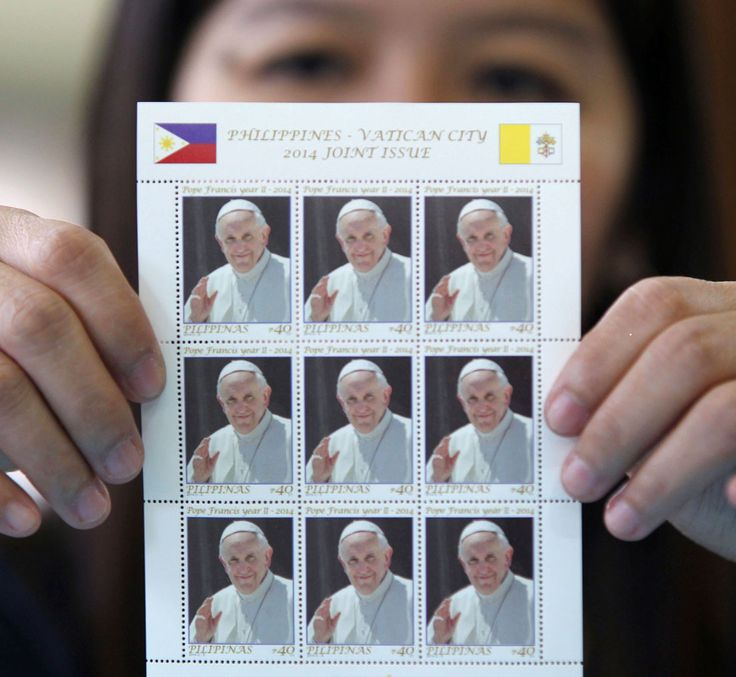 """The """"rock star"""" Pope is now on the Philippine Postal Corp. (PhlPost)'s stamp.  Beginning today, PhlPost will release copies of the 30 x 40-millimeter Pope Francis stamp which would be sold for P40 each."""