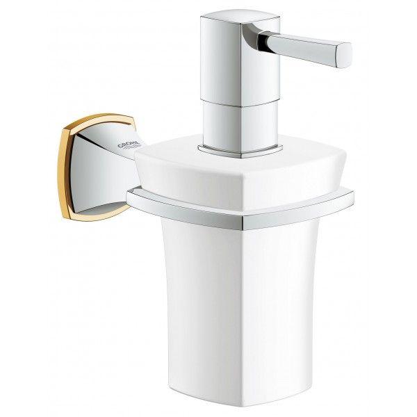Дозатор жидкого мыла GROHE Grandera керамический с держателем, хром/золото 40627IG0