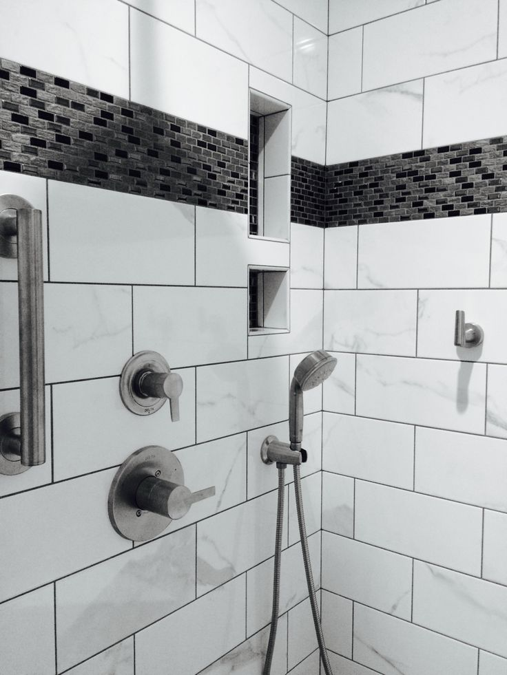 Shower Accessories Black White Grey Ceramic And Glass Tile And Brushed Nickel Shower