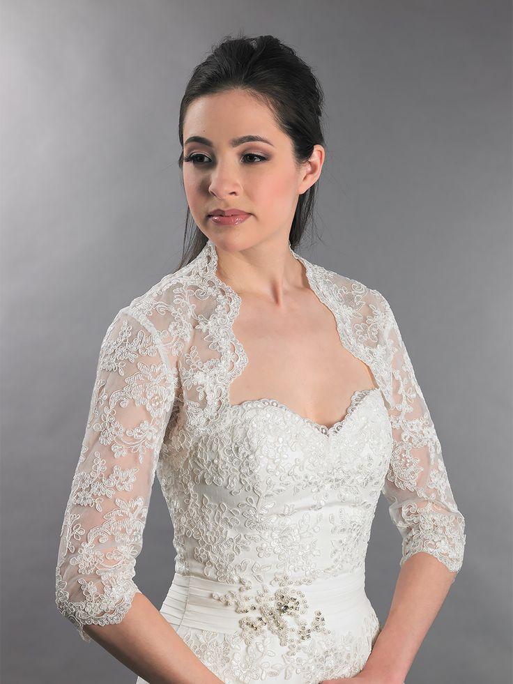 3 4 sleeve bridal lace wedding bolero jacket Lace 08014 best Wedding dress jacket images on Pinterest   Boleros  Lace  . Dress With Jacket For Wedding. Home Design Ideas