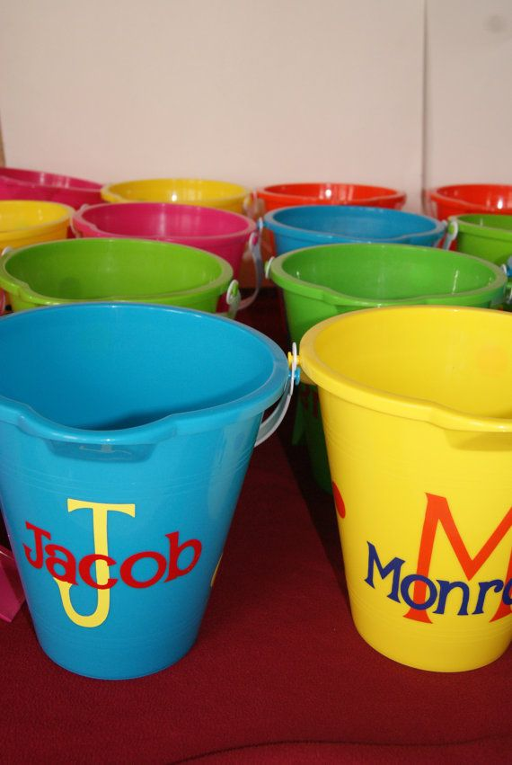 Personalized Sand Bucket, Sand Pail, Easter Basket on Etsy, $7.00