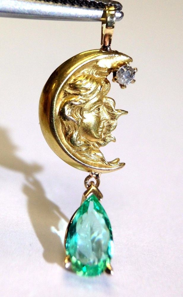 18K Yellow Gold Art Nouveau Moon and Lady Diamond and Emerald Drop Pendant