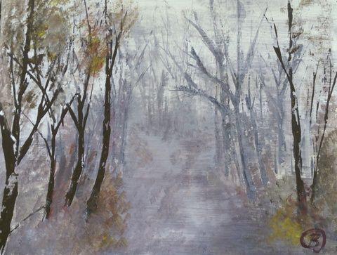 Köd, Képzőművészet , Festmény, Akril, Meska