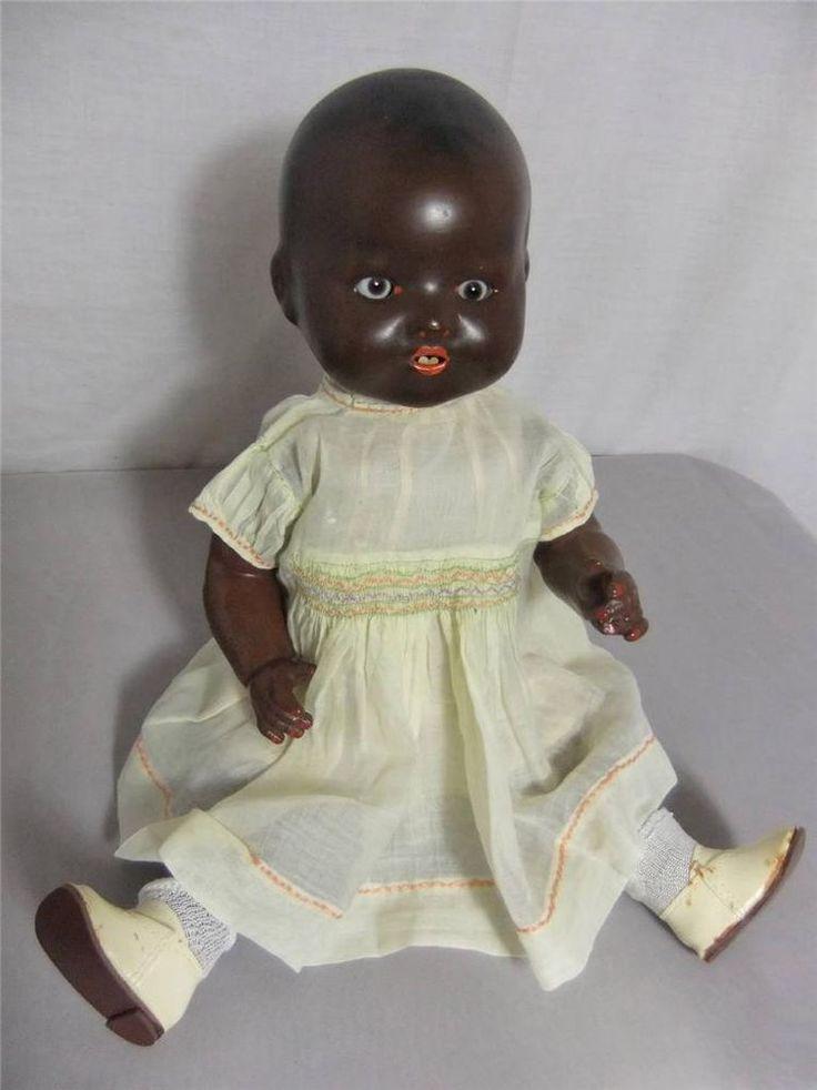 Antique 1930 S Bnd London 16 Bisque Head Black Infant Doll