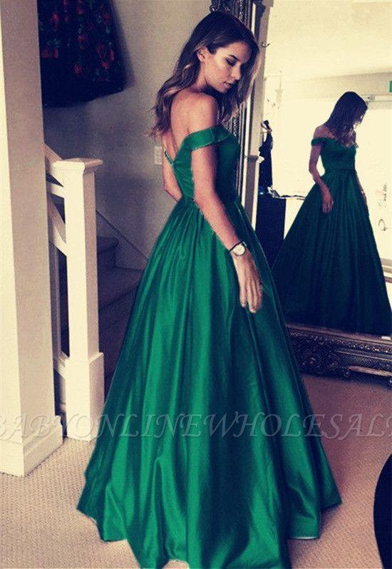 Elegant Off-the-Shoulder Evening Dress | Green Long Prom Dress