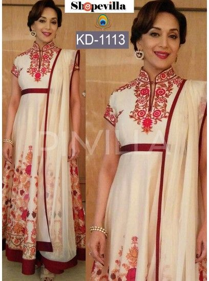 Madhuri Dixit Off White Georgette Bollywood Gown-KD-1113