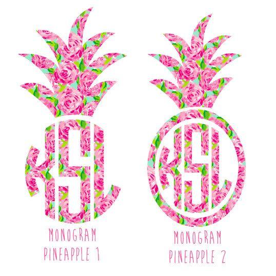 monogrammed pineapple decal