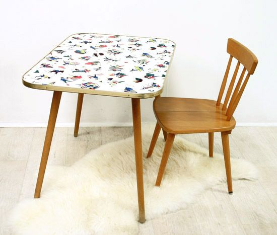 Ensemble petite table et chaise ann es 50 bianca and family baby deco - Table et chaise moderne ...