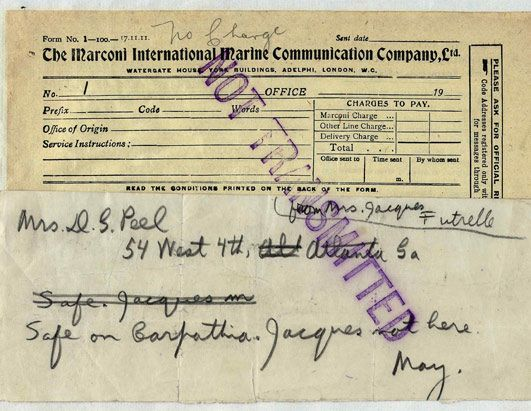 A first-class passenger list includes Mrs. D.S. Peel of Atlanta, who was reported save on board the Cunard liner Carpathia, the only ship to come to the rescue after the Titanic's distress call. This list, which included some of the most prominent names in society in 1912, fetched $48,000 at auction in 2007.