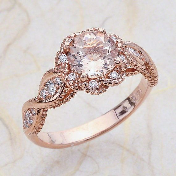 14K Vintage Rose Gold Engagement Ring Center / http://www.deerpearlflowers.com/twisted-engagement-rings-wedding-rings/