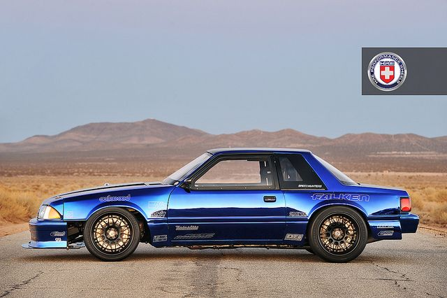 "Creations n' Chrome's ""Top Notch"" 1986 Ford Mustang LX Fox Body on HRE C100. Photo by Drew Phillips Photography. 