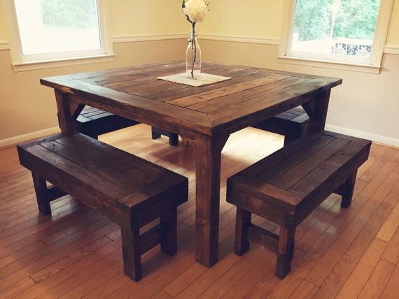 **PLEASE READ SHIPPING POLICY**  Beautiful, rustic, farmhouse-style table made from solid wood that is hand selected and skillfully cut and sanded. Each table is stained with your choice of stain and is sealed with a non-toxic tung oil finish for quality and longevity.  Dimensions: 55x55 inches, and 30 inches tall. Benches are 40 inches long, and can tuck under the table, sticking out about 5.5 inches on each side. Can also do a custom size!  **We are unable to ship farmhouse tables at this…