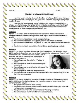 The Diary Of Anne Frank Project Teaching Student Teacher Gifts 8th Grade English