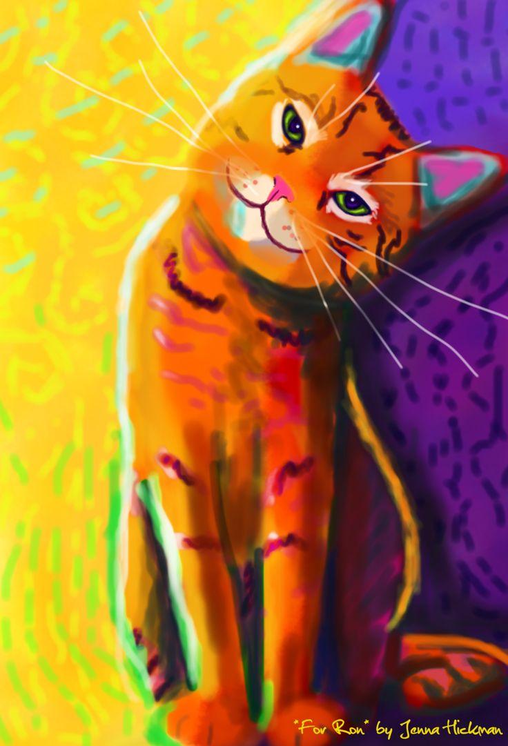 "bright purple & yellow background - orange cat ""cartoon"" -- probably acrylic"