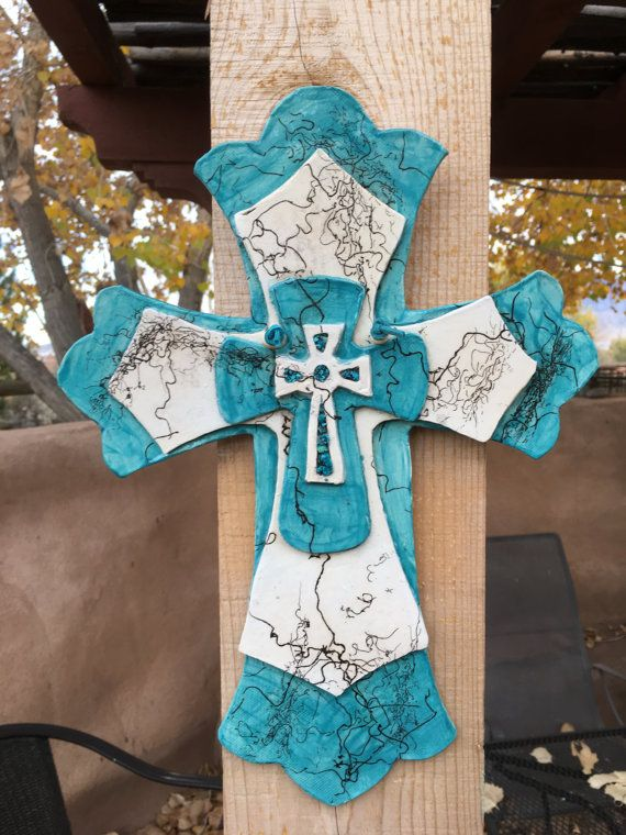 Wall hanging Religious Home Decor horsehair fired ceramic