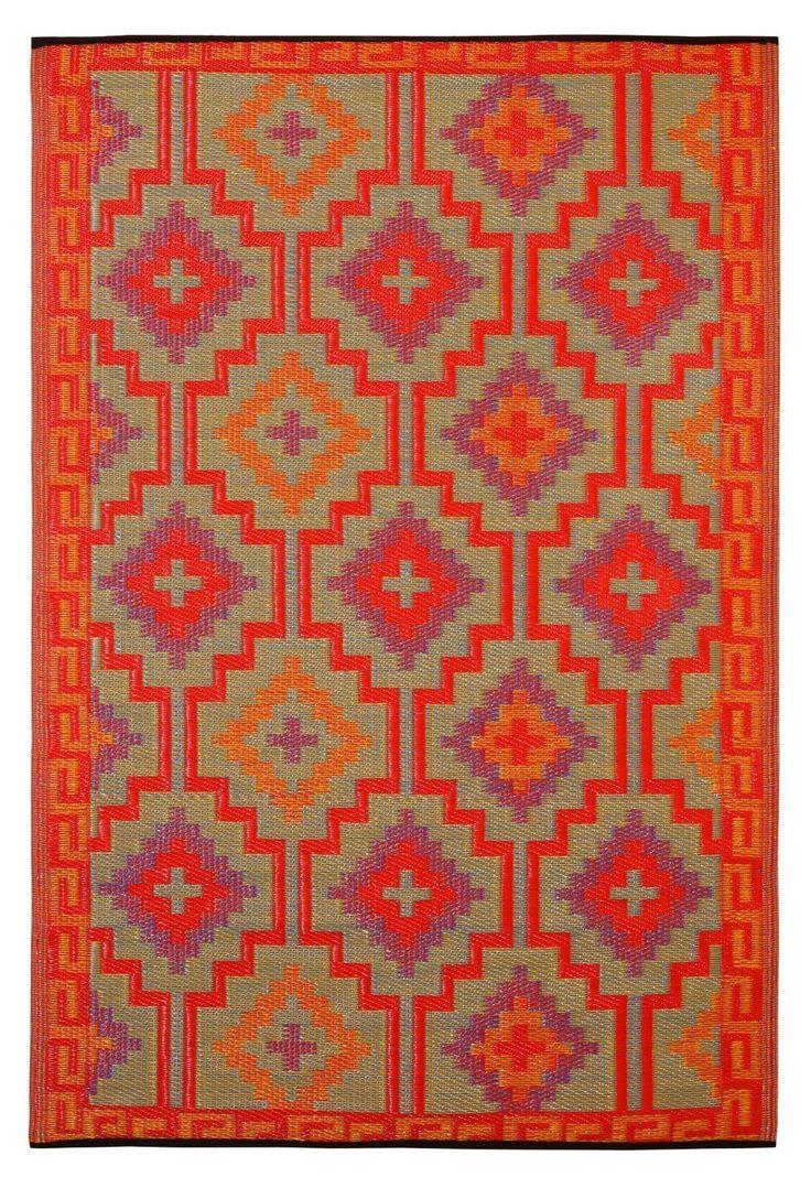 binnen & buiten vloerkleed rood oranje - 180 x 120 cm