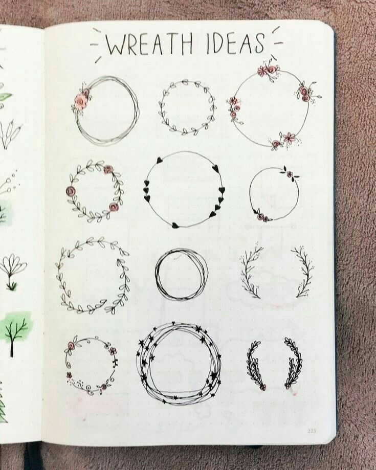wreath ideas for bullet journal decoration and cute planner doodles
