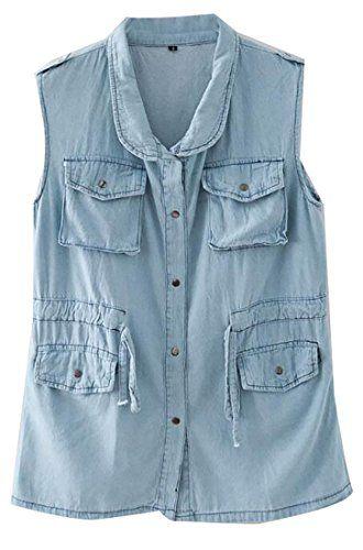 ARRIVE GUIDE Women's Washed Faded Sleeveless Multi-Pocket Denim Jacket Vest Sky Blue Small