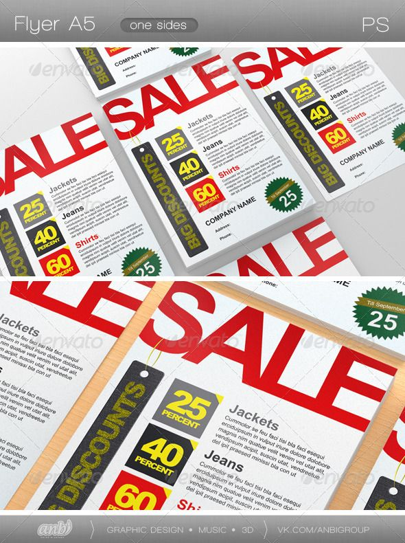 Sale  #GraphicRiver        Flyers A5  Fully editable   Format 148 to 210mm  5mm include bleed  Color CMYK  The print profile Euroscale Coated v2 Ready for printing Standart font:   Arial  Arial Black      Created: 11August11 GraphicsFilesIncluded: PhotoshopPSD Layered: Yes MinimumAdobeCSVersion: CS3 PrintDimensions: 5.827x8.268 Tags: discountpercentage #flyer #red #sale #white