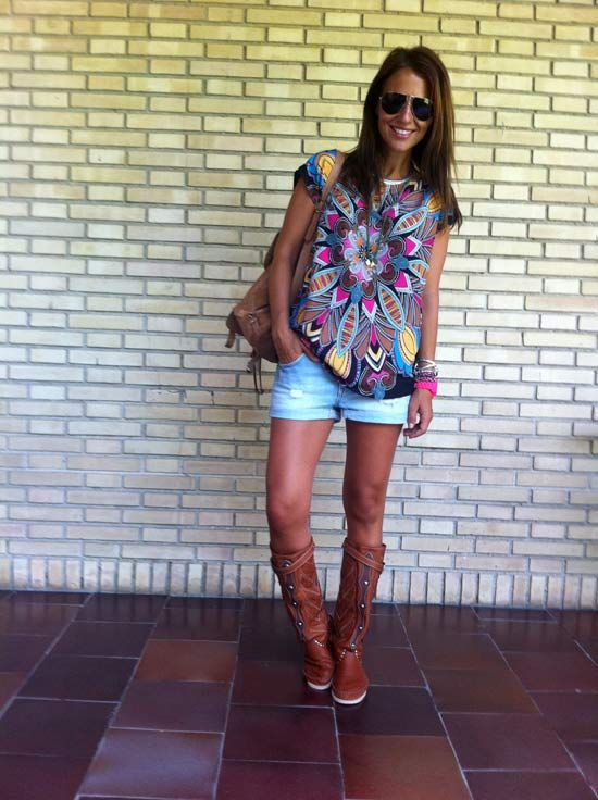 Shorts jean+Camiseta estampada