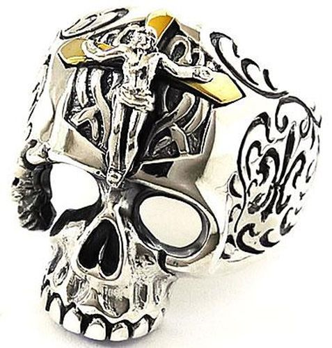 BIG SKULL CRUCIFIX STERLING 925 SILVER RING Sz 9 JESUS 14K GOLD CROSS JEWELRY