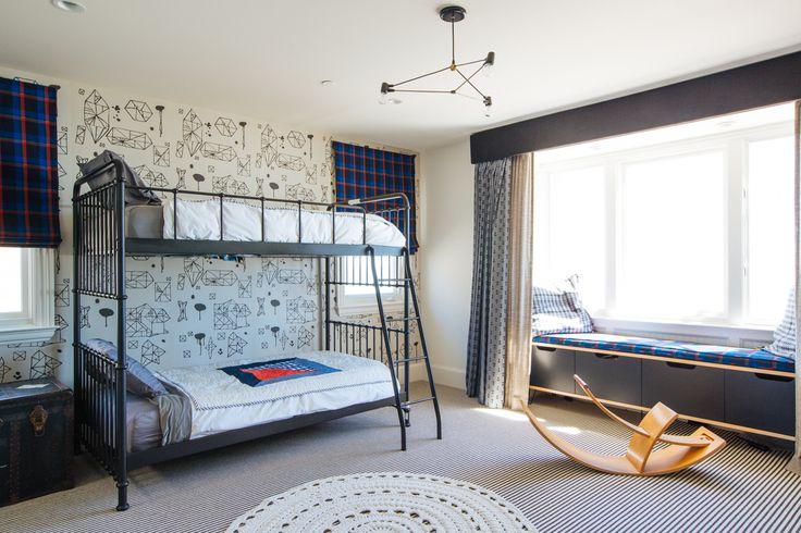 Megan Tagliaferri from FLO design studio's Long Beach Home #kids #bedroom #bunkbeds #patterns #wallpaper #textures #design #gold #accents #accessories #midcentury #color #blackandwhite